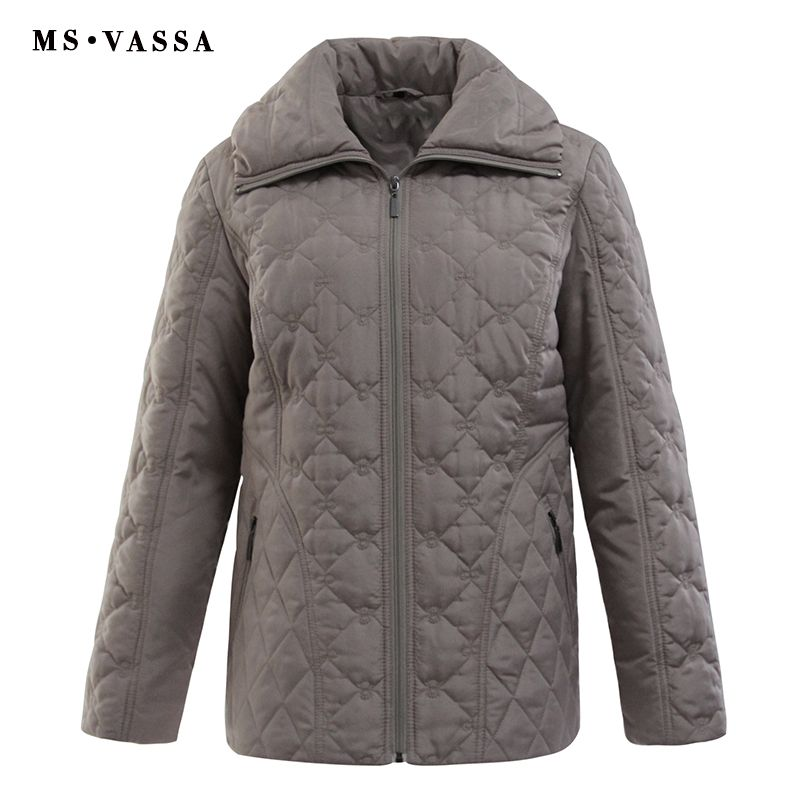 MS VASSA 2018 New Women Plus Size Parkas Spring padded Casual Coats Classic Sandwich Quilted Jacket 7XL Ladies outerwear