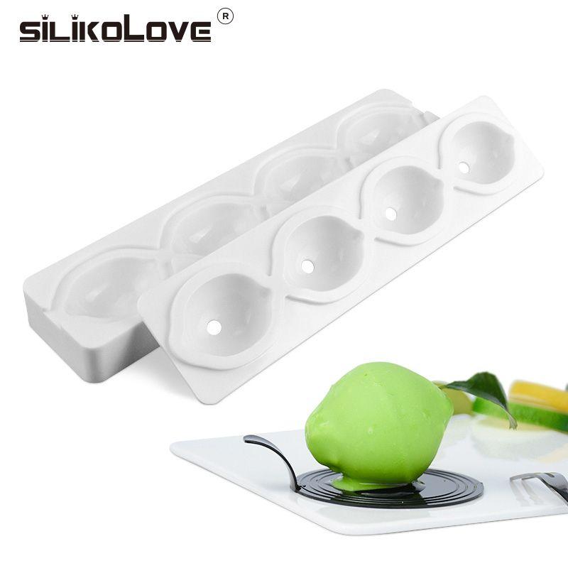 Silikolove 4 полости лимон 3D моды мусс фрукты антипригарным микроволновых FDA термостойкие торт формы силиконовые конфеты формы
