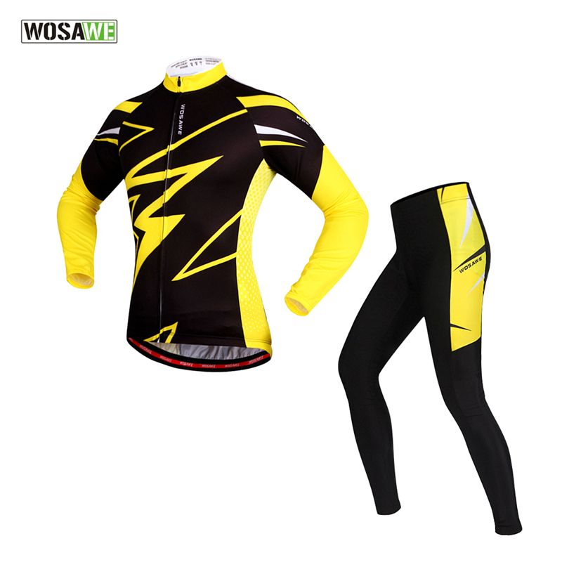 WOSAWE Women Man Cycling Suits Long Sleeve Jacket Tights Trousers Professional Ropa Ciclismo Breathable Windproof Bike Jersey