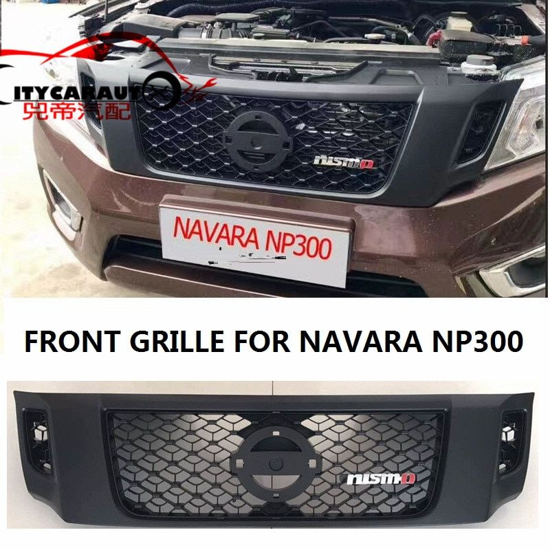 CITYCARAUTO LED DRL Racing grill grille ABS black front trim fit for NAVARA NP300 pickup raptor grills 2014-2017