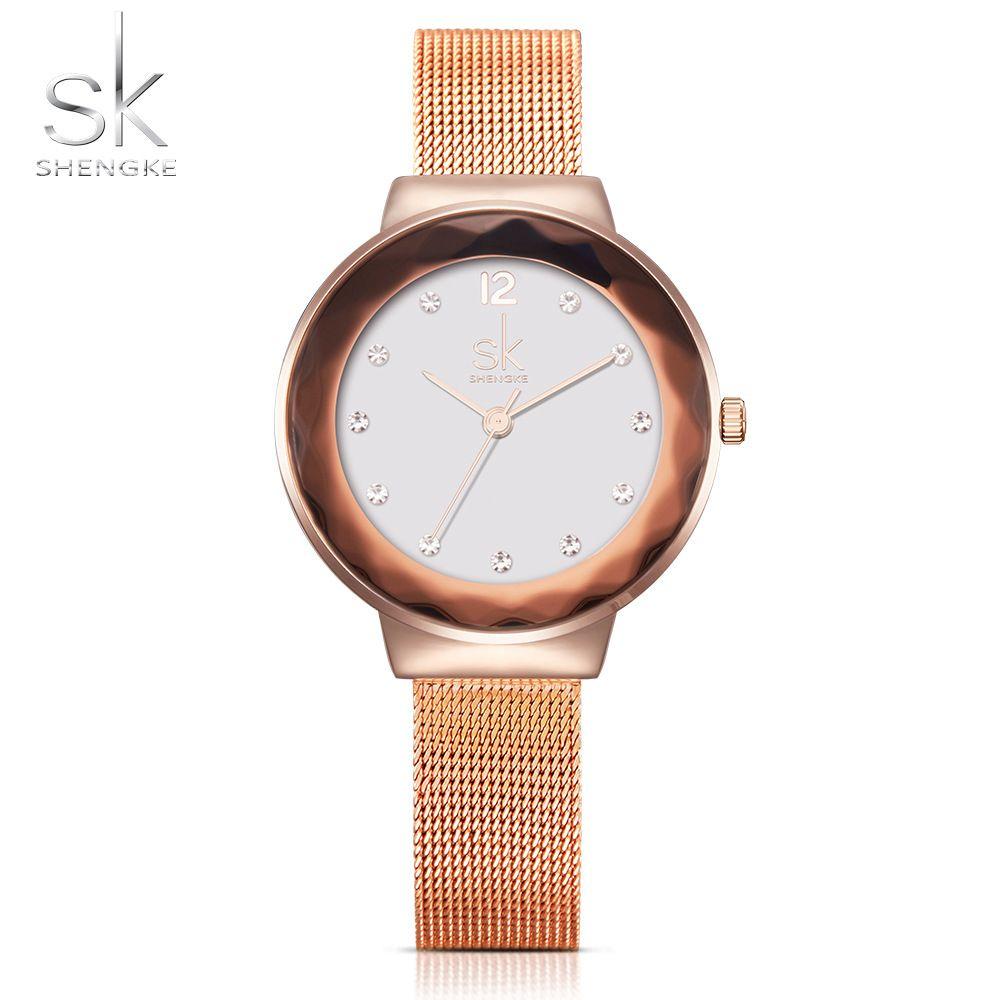 Shengke Fashion Women Watches Luxury Stainless Steel Wristwatch Ladies Watch Quartz Watch Montre Femme High cost effective 2017