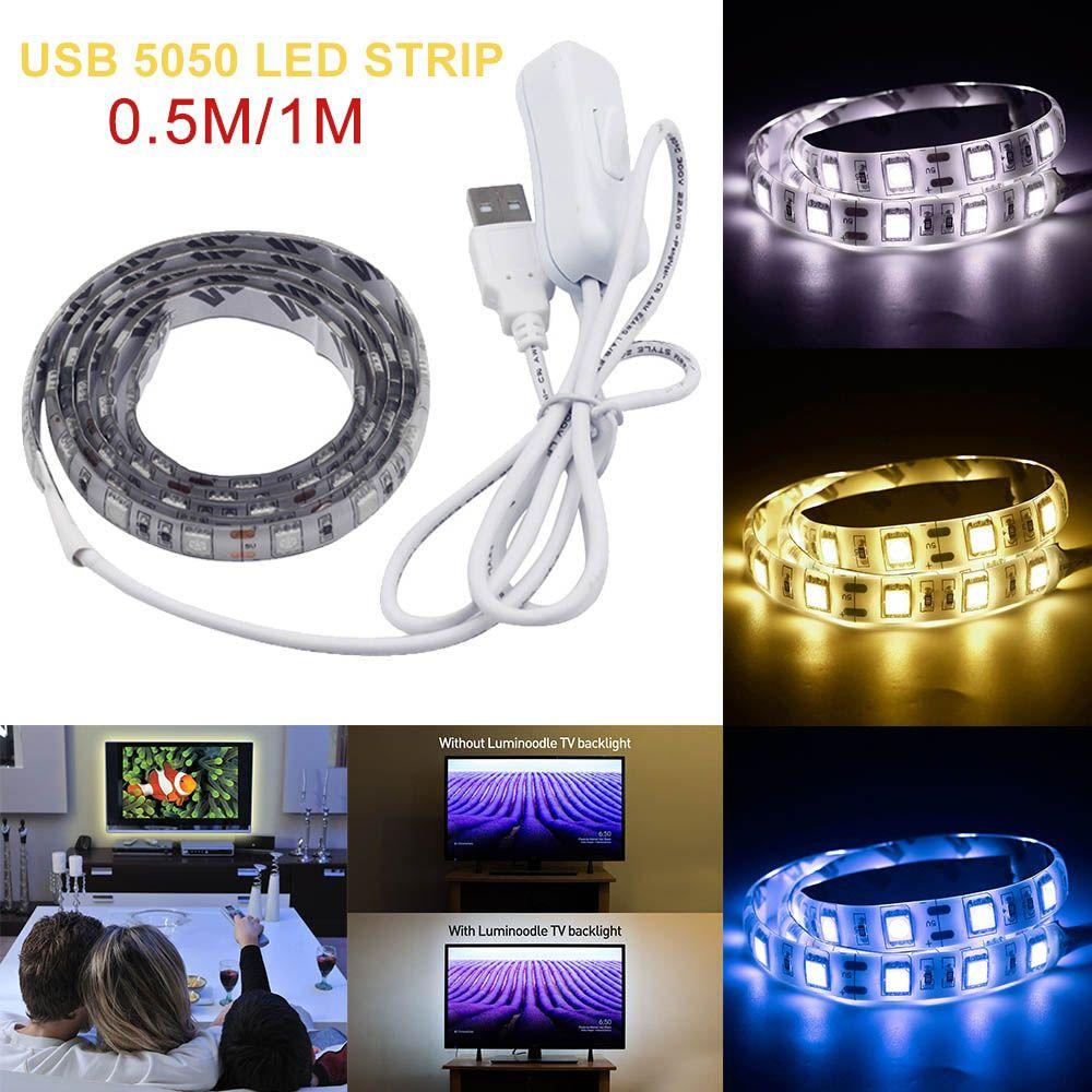 DC5V RGB USB LED Strip Light 5050 SMD Waterproof LED Flexible Strip Light TV Background Lighting Kit USB Cable 50cm/100cm
