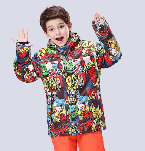 2016 childrens skiing jackets printed with patterns boys snowboard tops kids ski jackets skiwear anorak mountain-climbing coat