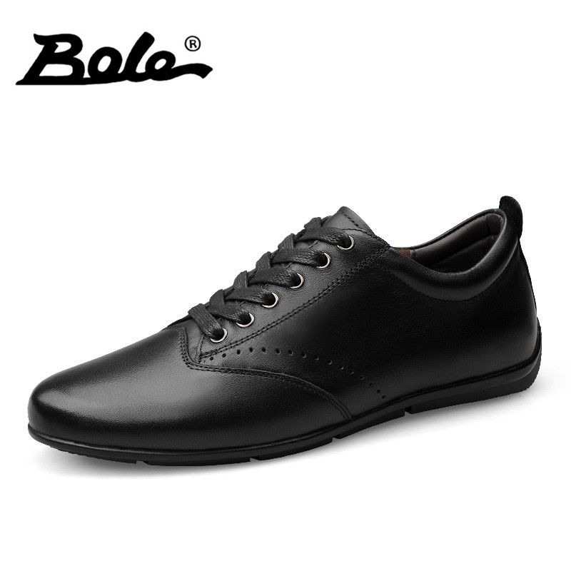BOLE Handmade Genuine Leather Men Shoes Fashion Walking Durable Lace Up Shoes For Men Design Superstar Breathable Shoes Men Flat