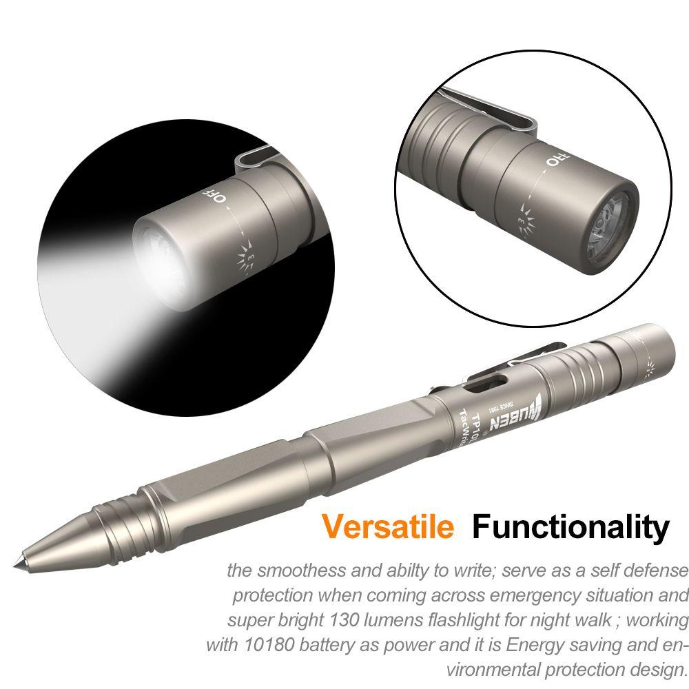 WUBEN TP10L-LG stylo lumière Portable lampe de poche LED multifonctionnel tactique lanterne USB Rechargeable CREE auto-défense Camping