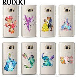 Aquarelle Art Neige Blanc Sirène Téléphone Cas Pour Coque Samsung Galaxy S6 S7 Bord S8 S9 Plus A8 Plus 2018 Mickey Minnie couverture