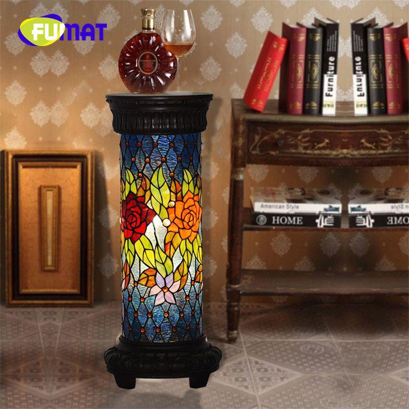 FUMAT Tiffany Roman Column Lamp Telephone Desk European Retro Rose Bedroom Living room Study room Decoration Floor Lamp