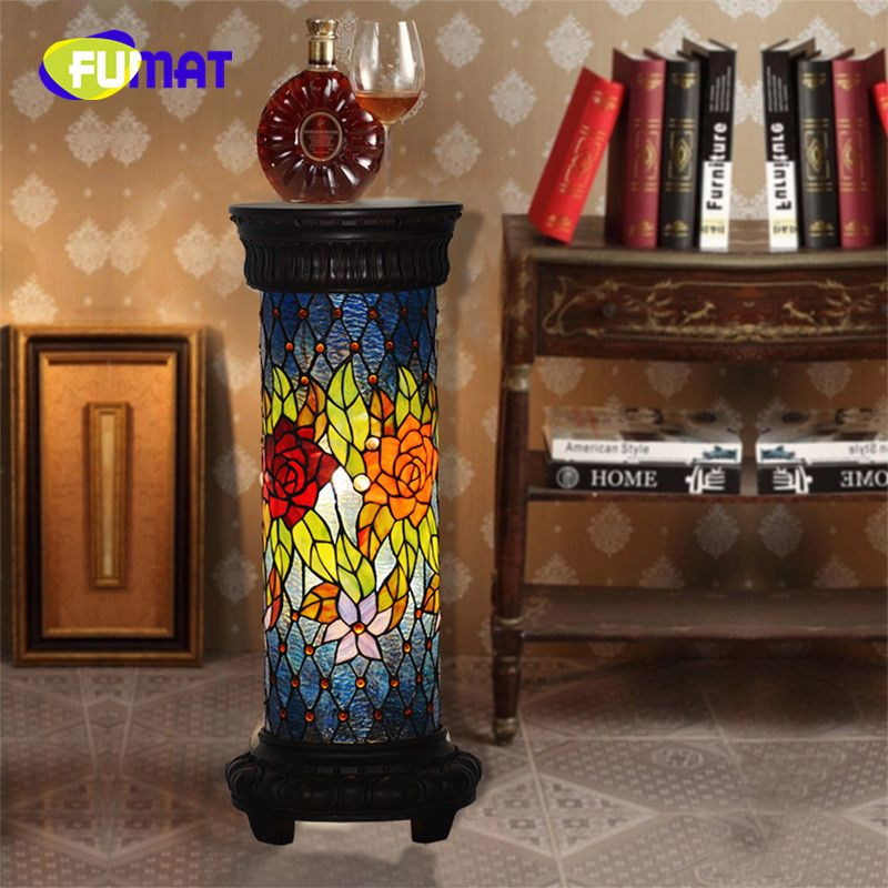 FUMAT Tiffany Roman Column Lamp Telephone Desk European Retro Rose Bedroom Living room Study room Decoration Floor Lamp