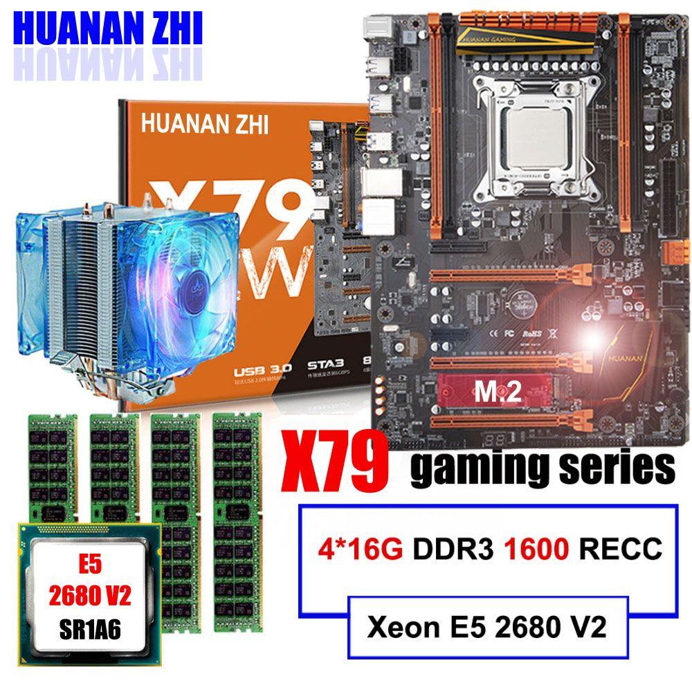 Marke motherboard auf verkauf HUANAN ZHI deluxe X79 motherboard mit M.2 CPU Xeon E5 2680 V2 mit kühler RAM 64G (4*16G) 1600 REG ECC