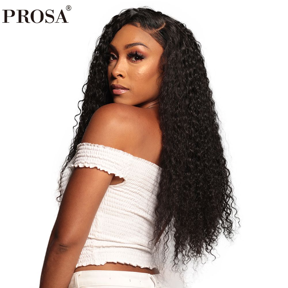 13x6 Lace Front Human Hair Wigs For Women Natural Black Color Pre Plucked 250% Density Brazilian Curly Human Hair Wig Remy Prosa