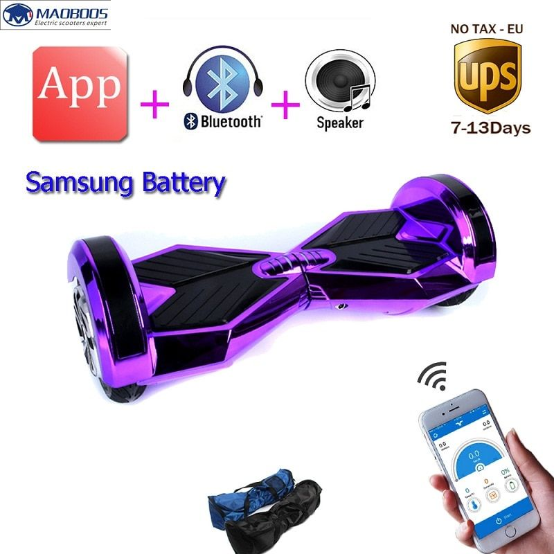 Samsung battery 8 inch led light 2 wheels balancing electric scooter smart electric skateboard APP self balance hoverboard