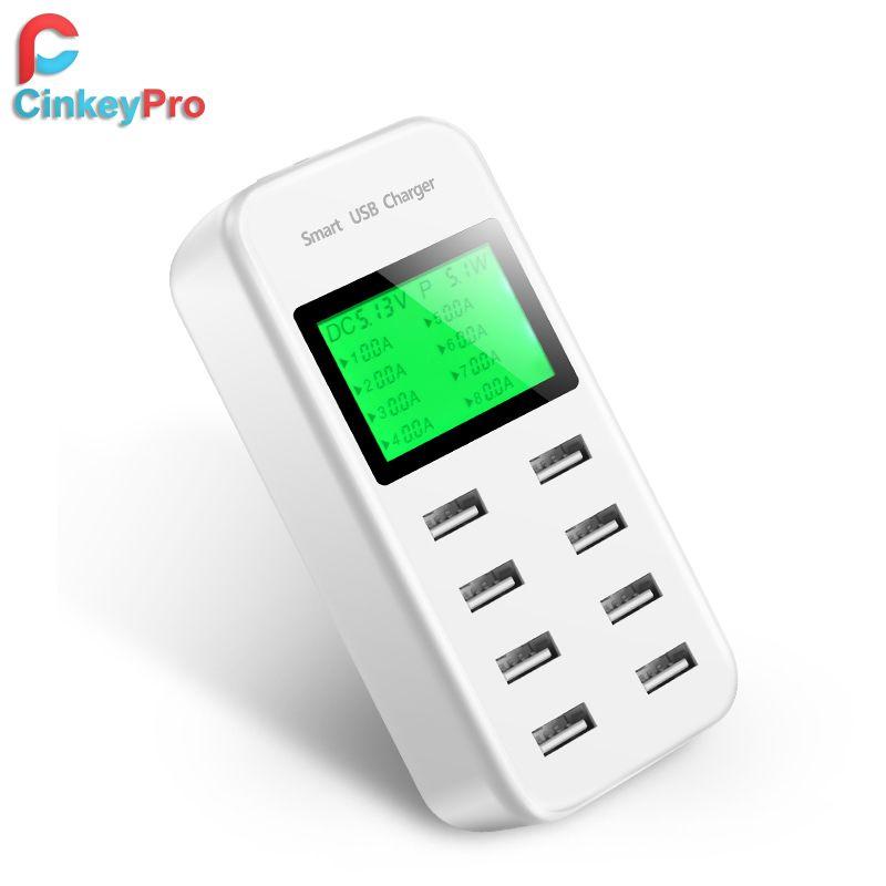 CinkeyPro 8 Ports Smart USB Chargeur Pour Samsung iPhone iPad Avec LED Affichage Rapide De Charge 5 V/8A Mur adaptateur Téléphone Universel