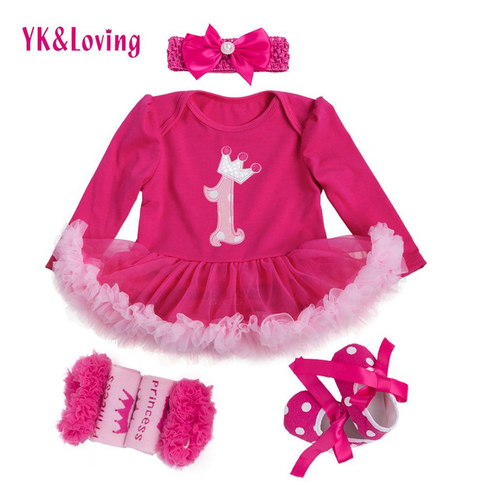 Princesse Bébé Filles 4 pièces Ensembles À Manches Longues Coton Rromper Rose Rouge À Volants TUTU Robe Bébé Vêtements Vestidos 1 Robe D'anniversaire