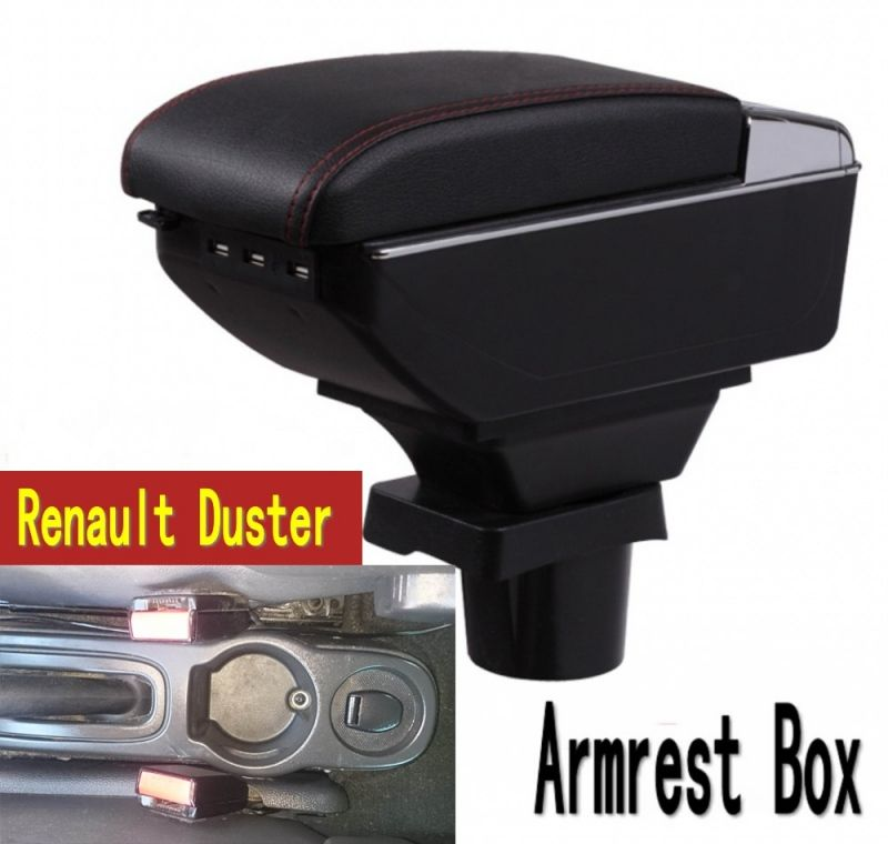 For Renault Duster armrest box central Store content box with cup holder ashtray