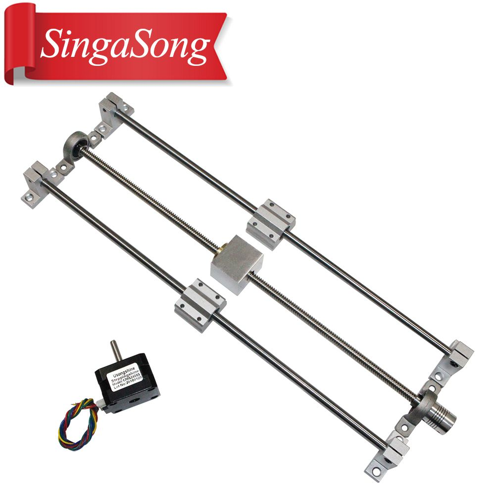 3D Printer guide rail sets T8 Lead screw length 500mm + linear shaft 8*500mm+KP08 SK8 SC8UU+ nut housing +coupling + step motor