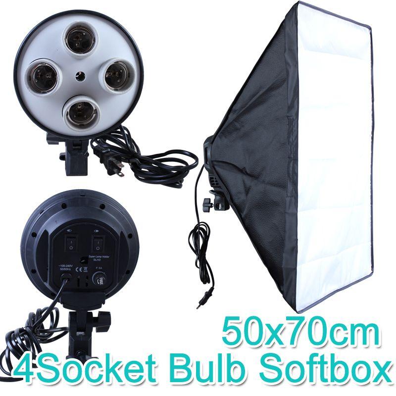 Photo Studio 50*70 cm Softbox E27 4-Lampe-Titulaire 100-240 v Éclairage Doux Boîte photographie Kit