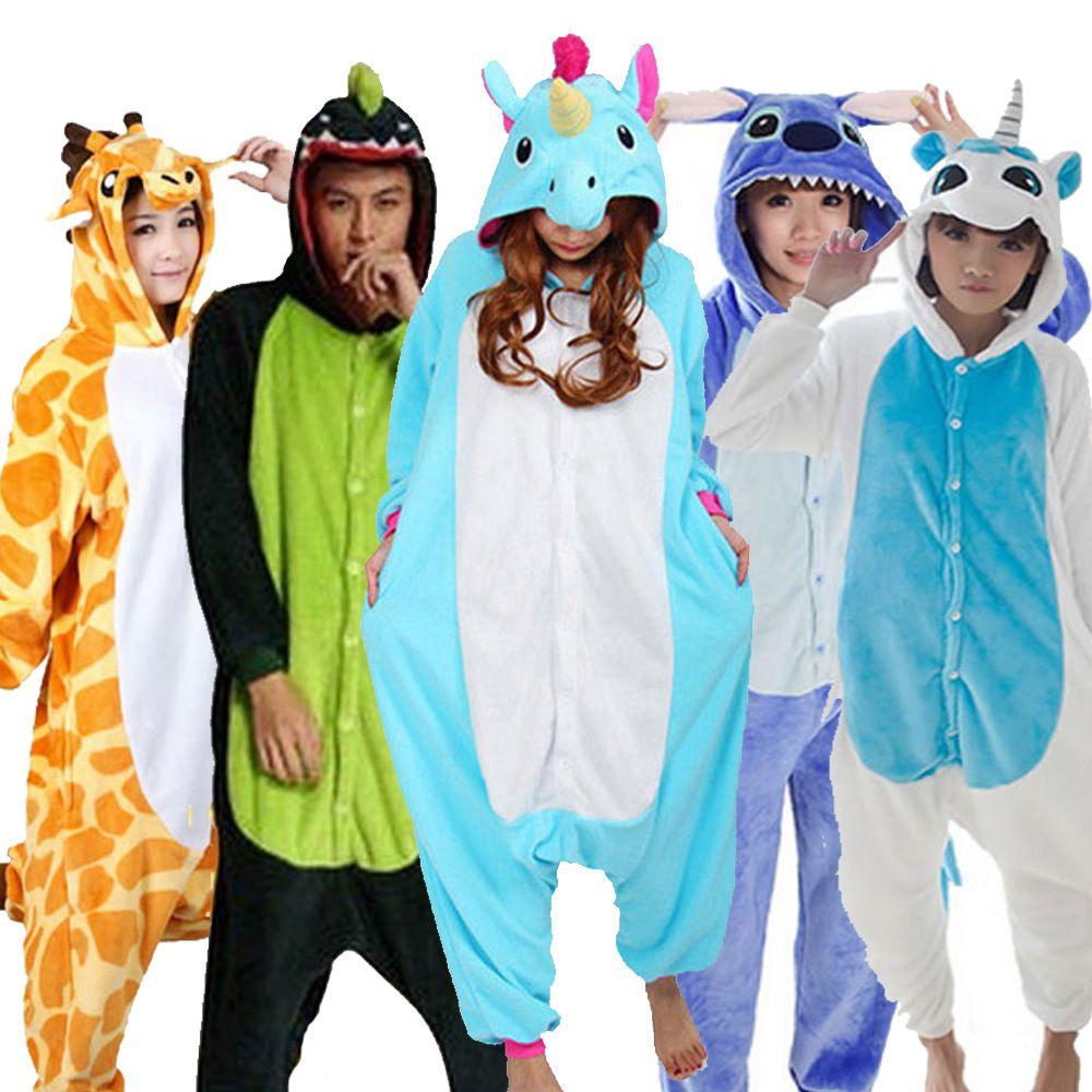 Wholesale Panda Stitch Unicorn Unisex Flannel Hoodie Pajamas Costume Cosplay Animal Onesies Sleepwear For Adults Women Men Child