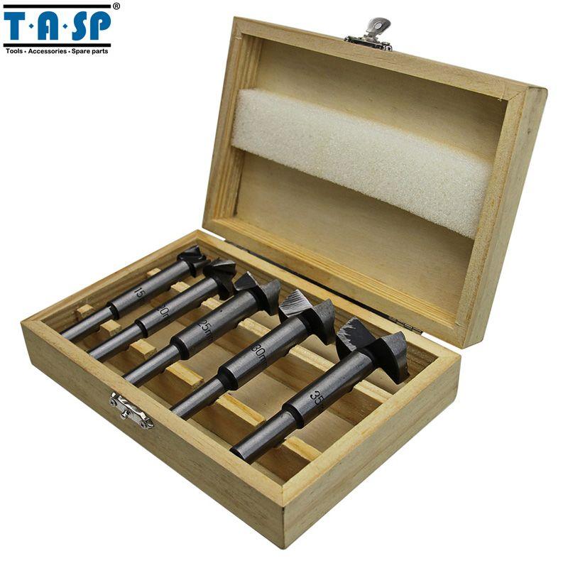 TASP 5 pièces Bois Forstner Forets À Bois Auto-centrant Scie Emporte-pièce Accessoires Pour Outils Électriques avec Boîte De Rangement