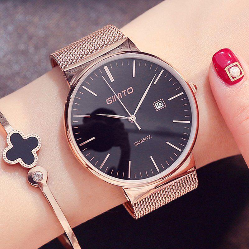GIMTO Fashion <font><b>Rose</b></font> Gold Women Watch Minimalism Simple Stylish Luxury Casual lady Watches Waterproof Dress Wristwatch for Female