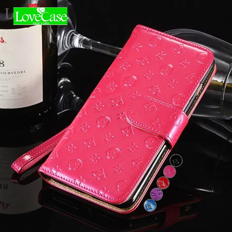 LoveCase Bright stylish face for <font><b>iPhone7</b></font> mobile wallet holster for iPhone6 6s 7 8 plus Clamshell mobile phone cover case