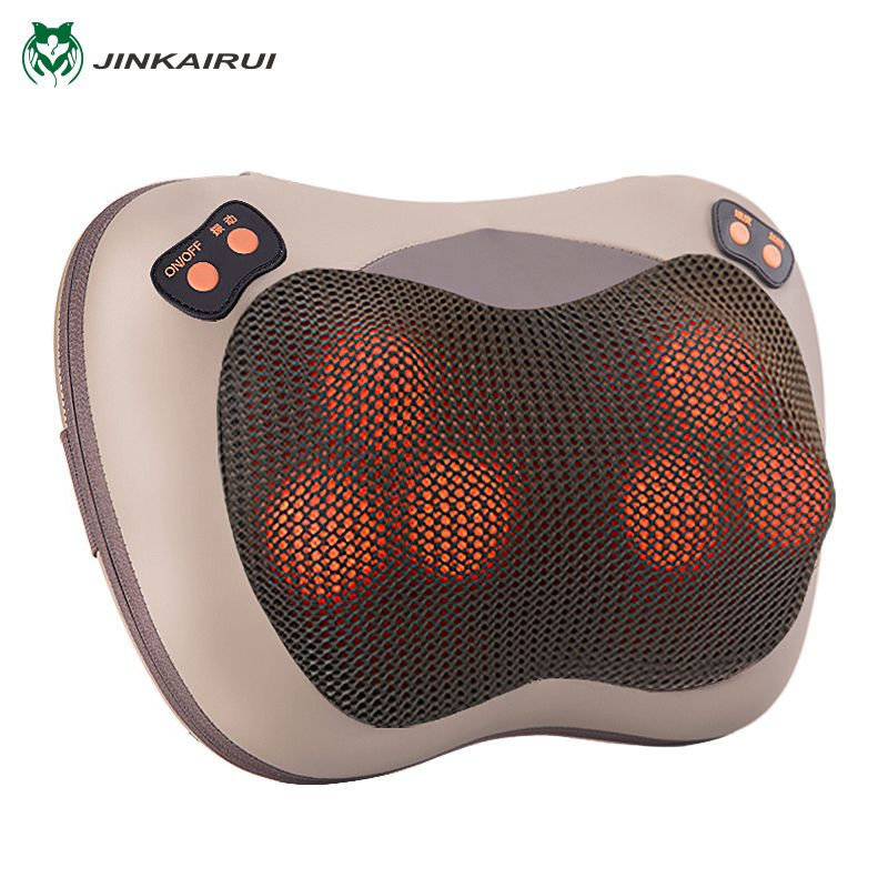 JinKaiRui Infrared Heating Electric Kneading Shiatsu Vibrator Neck Shoulder Back Body Massager <font><b>Pillow</b></font> Car/Chair/Home Massagem