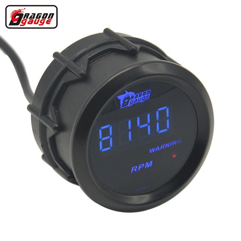 Jauge Dragon universelle 52mm coque noire et bleu LED rétro-éclairage tachymètre numérique jauge 0-9999 tr/min livraison gratuite