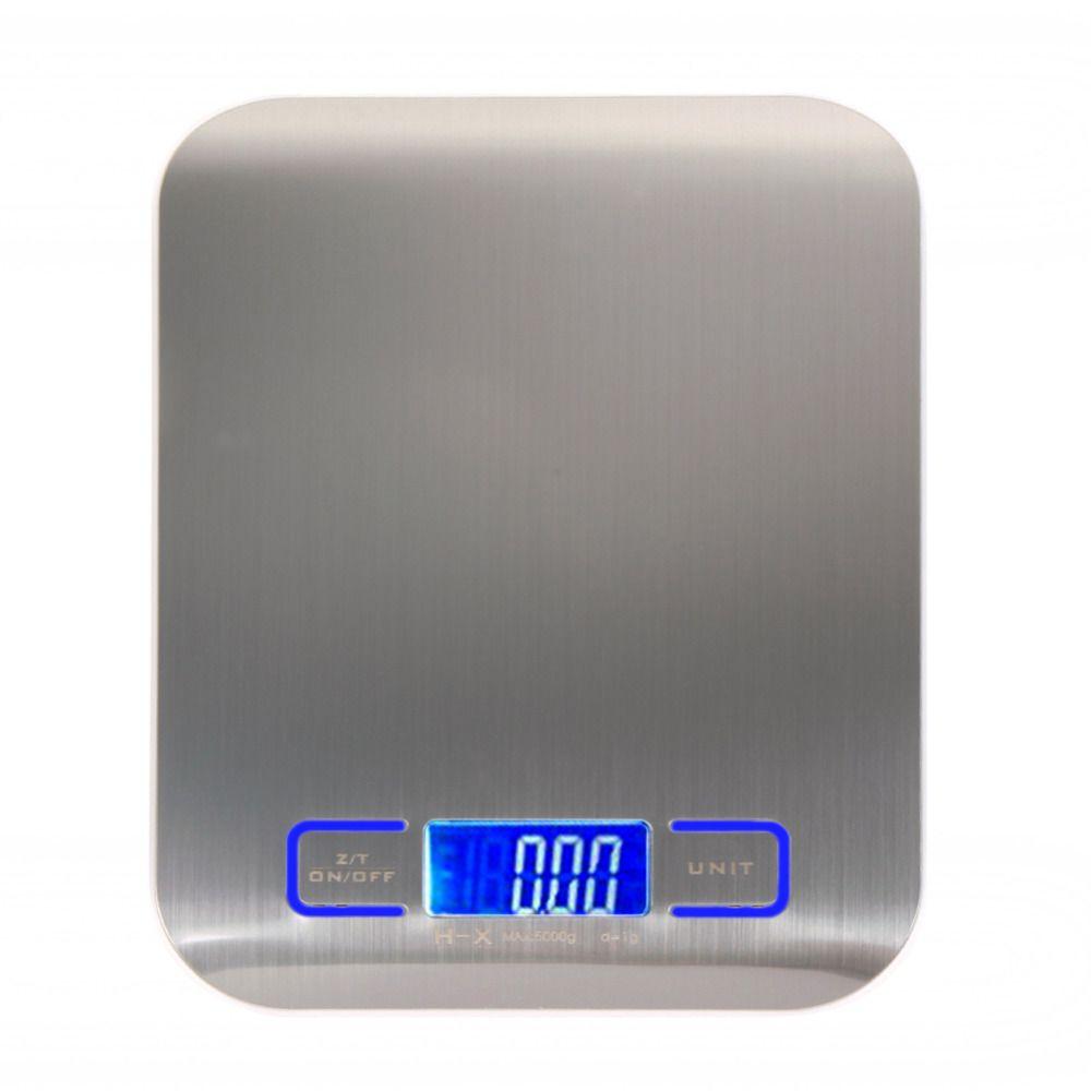 Balance de cuisine alimentaire multifonction numérique, acier inoxydable, plate-forme en acier inoxydable 11lb 5 kg avec écran LCD (argent)