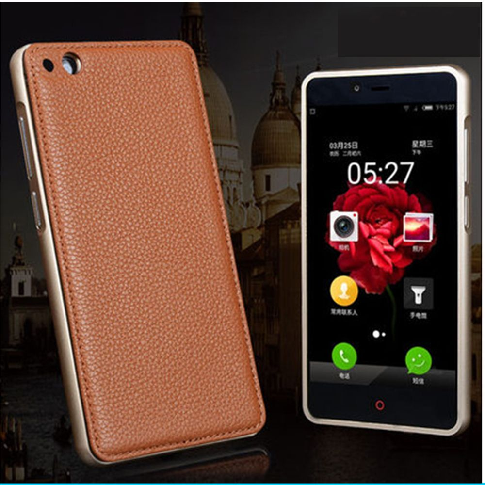 2017 New High Quality Aluminium Alloy Metal Frame Bumper for ZTE Nubia Z9 Mini Genuine Leather Back Cover for Nubia Z9Mini Case