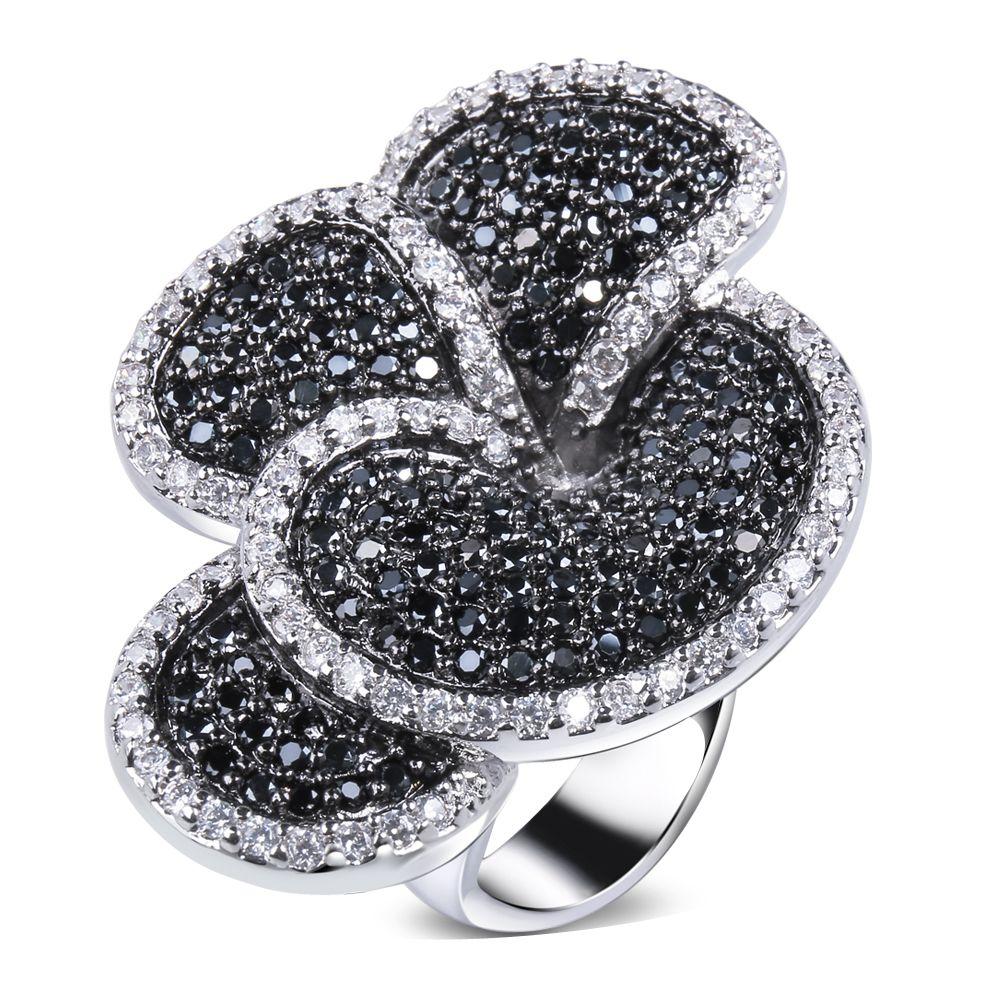 Красивый цветок кольцо черно-белое кольцо Белый цвет золотистый кубический цирконий CZ последнее конструкции новые модные ювелирные издели...