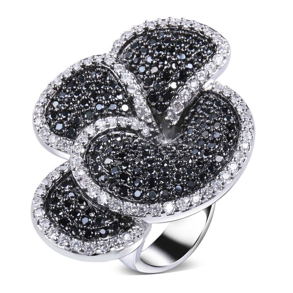 Schönen Blume Ring Schwarz und weiß Ring weißgold farbe zirkonia CZ neuesten designs neue modeschmuck Freies verschiffen