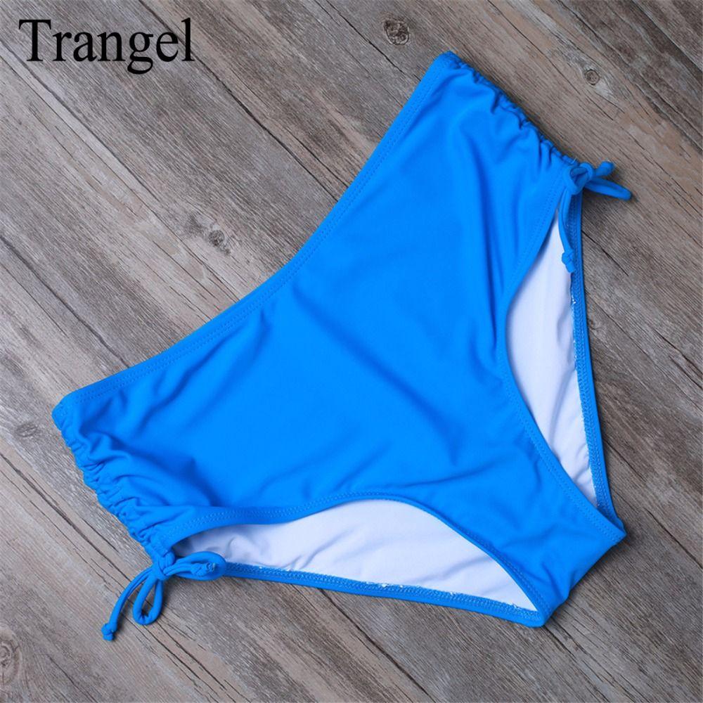 Trangel Women Mid-waist Swim Trunks Summer Bikini Bottoms Two-Piece Separates Swimwear Women Sexy Bottom Beachwear Plus Size XXL