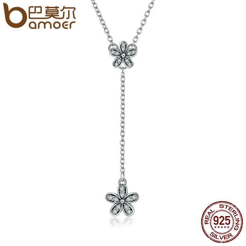 BAMOER Authentic 925 Sterling Silver Dazzling Daisy Long Pendant Necklaces for Women Sterling Silver Jewelry Collares PSN019