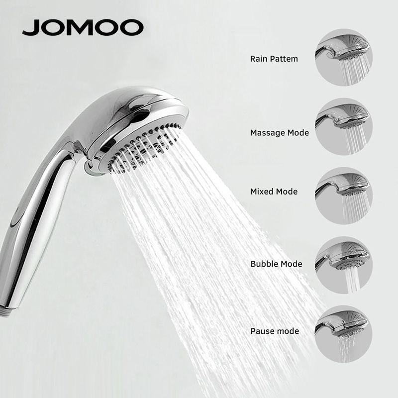 JOMOO pommeau de douche à 5 jets haute pression à économie d'eau ABS pomme de douche 3.5 pouces porte-buse de douche tuyau en acier inoxydable