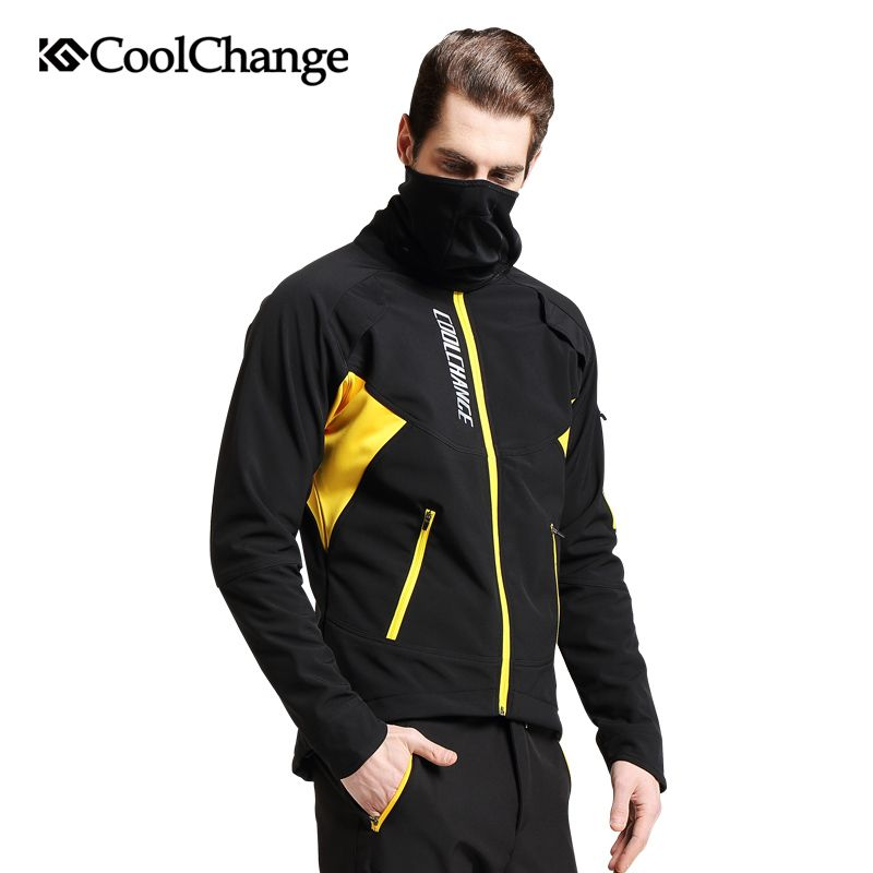 CoolChange Cycling Jersey Winter Thermal Fleece MTB Bicycle Windproof Jacket Outdoor Cycling Sportswear Long Sleeve Coat Jersey