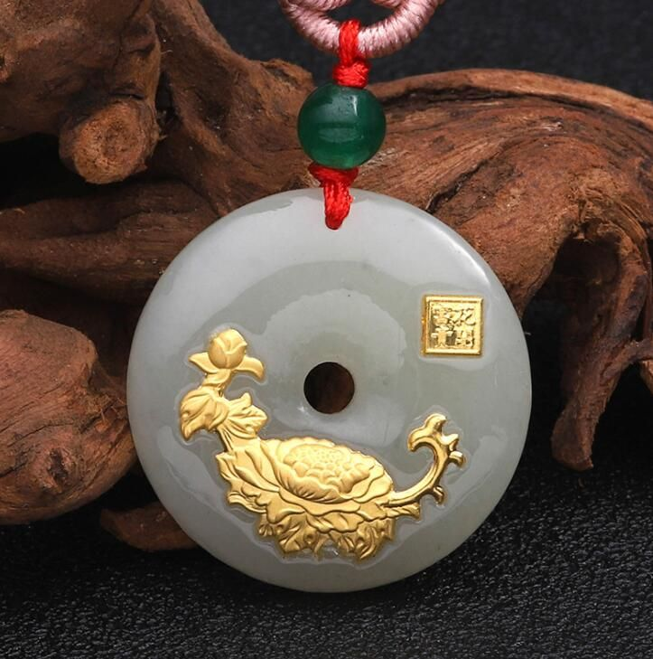2018 New Design Flower Jade Necklace For Unisex Good Quality Best gift Hot <font><b>Selling</b></font> Free Shipping