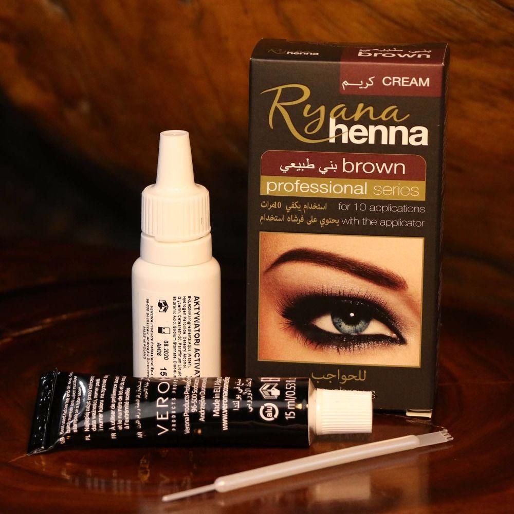 Ryana Henna Natural Eyebrow Eyelash Professional Color Tint Cream Kit, 15-minute Fast Tint Brown & Black Available easy dye