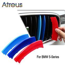 Atreus 3 pcs 3D Penutup Stiker Mobil Depan Grille Potong Olahraga Strip Untuk BMW E39 E60 F10 F07 G30 5 seri GT M Daya Aksesoris