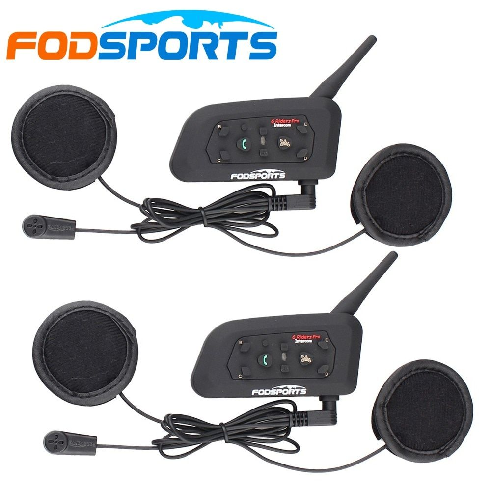 Fodsports 2 pcs V6 Pro Motorcycle helmet bluetooth headset Intercom 6 Riders Moto Waterproof BT Interphone for full face helmet