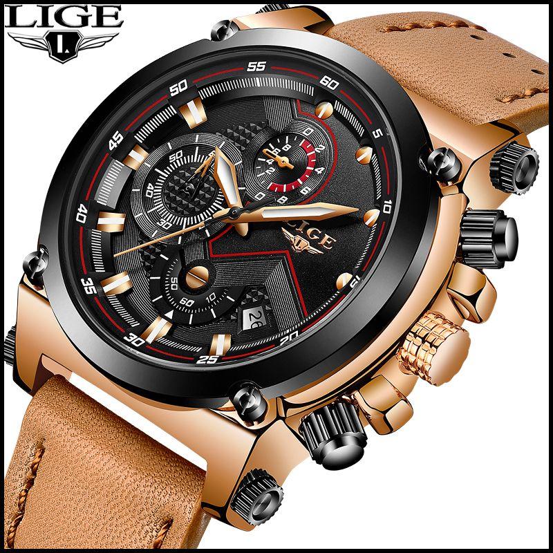 LIGE Mode Herren Uhren Top Brand Luxus Casual Quarzuhr Männer Leder Militärische Wasserdichte Sport Armbanduhr Relogio Masculio