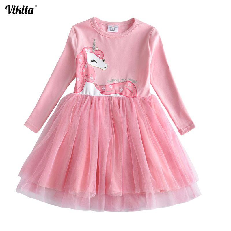VIKITA filles robe à manches longues enfants robes de fleurs enfants licorne Vestidos 2018 filles robes automne enfants robe pour fille