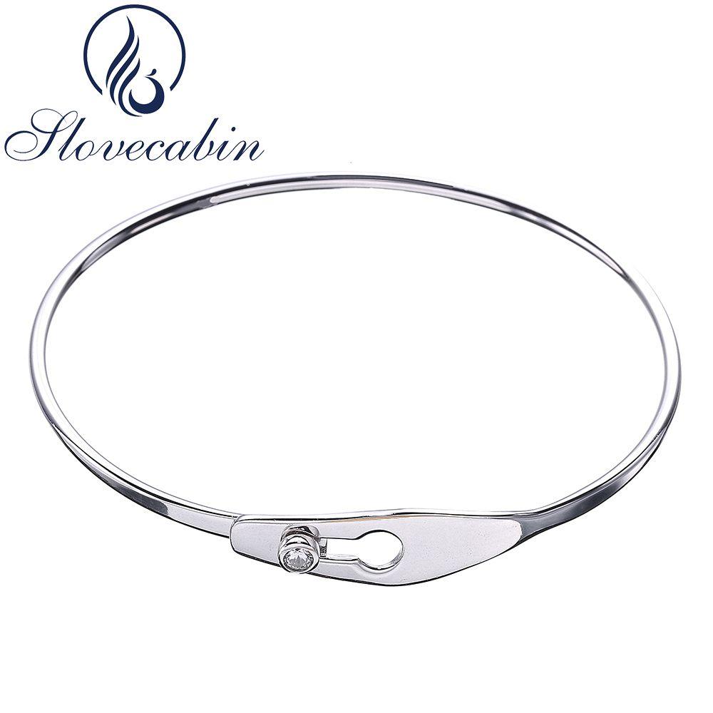 Slovecabin 2017 France Popular Jewelry Original 925 Sterling Silver Serrure Jonc Femme Bracelet Bangle For Women Crystal Jewelry