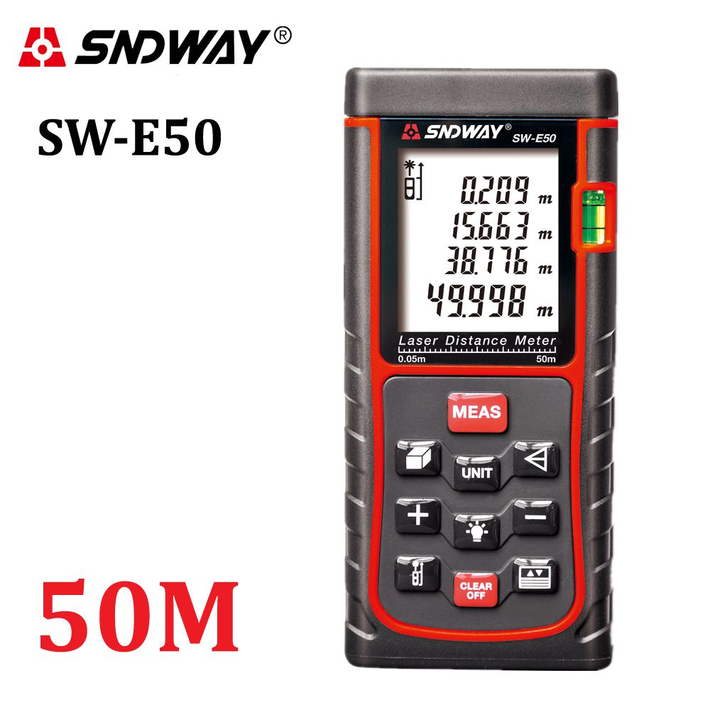 SNDWAY-E50 50M Laser Rangefinder Laser Distance Meter Laser Range Finder Laser <font><b>Tape</b></font> Measure RZ50 Tester Area-volume-Angle tool