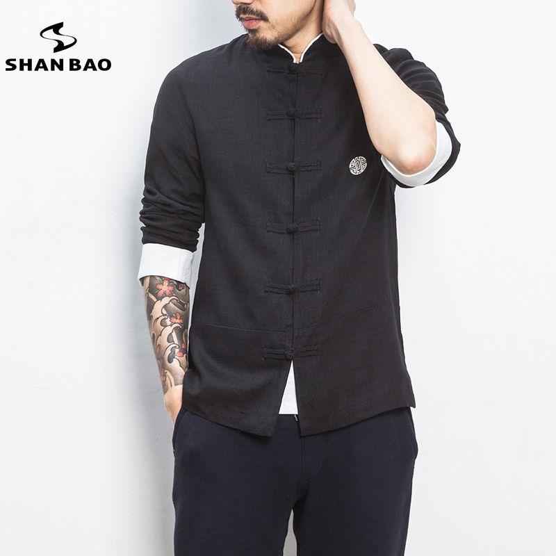 Grande taille hommes de haute qualité de coton et lin à manches longues chemise 2019 printemps original Chinois style décontracté shirt noir beige