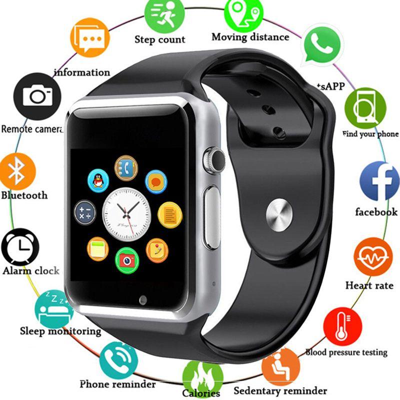 A1 montre-bracelet Bluetooth montre intelligente hommes Sport podomètre avec caméra SIM Smartwatch pour Smartphone Android pour livraison directe