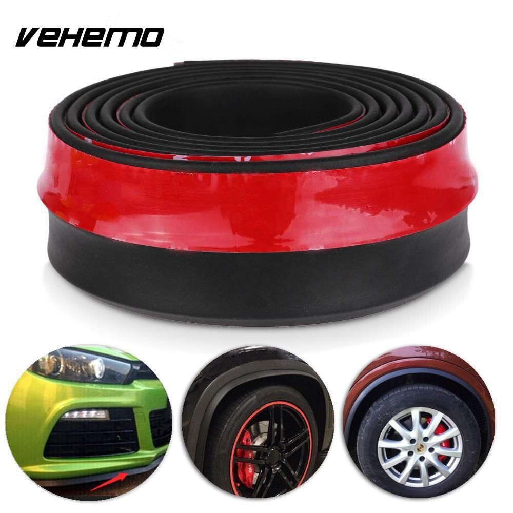 Vehemo New 2.5M Universal Car Protector Front Bumper Lip Splitter Body Kit Bumpers Valance Chin Accessiories High Quality