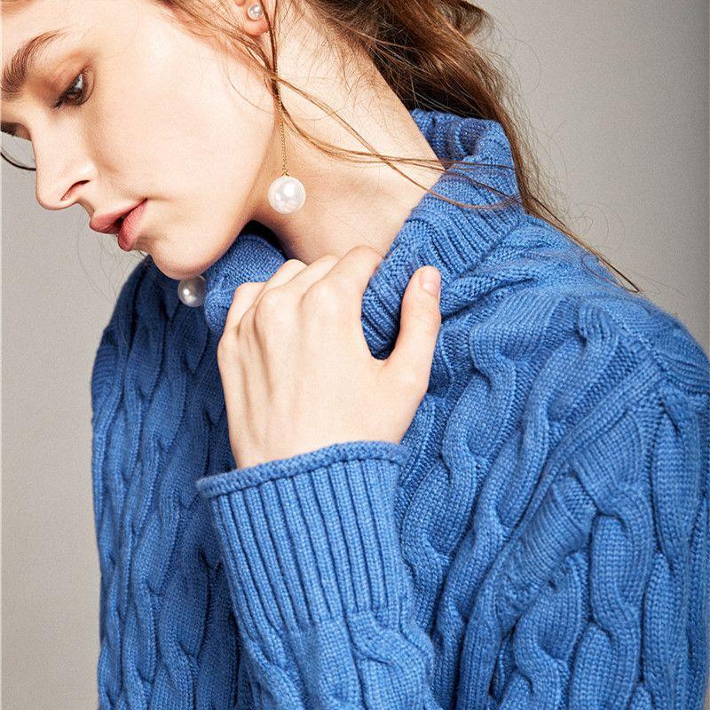 С высоким воротником твист свитер женские осенние и зимние свободные корейской версии кашемировый свитер комплекты
