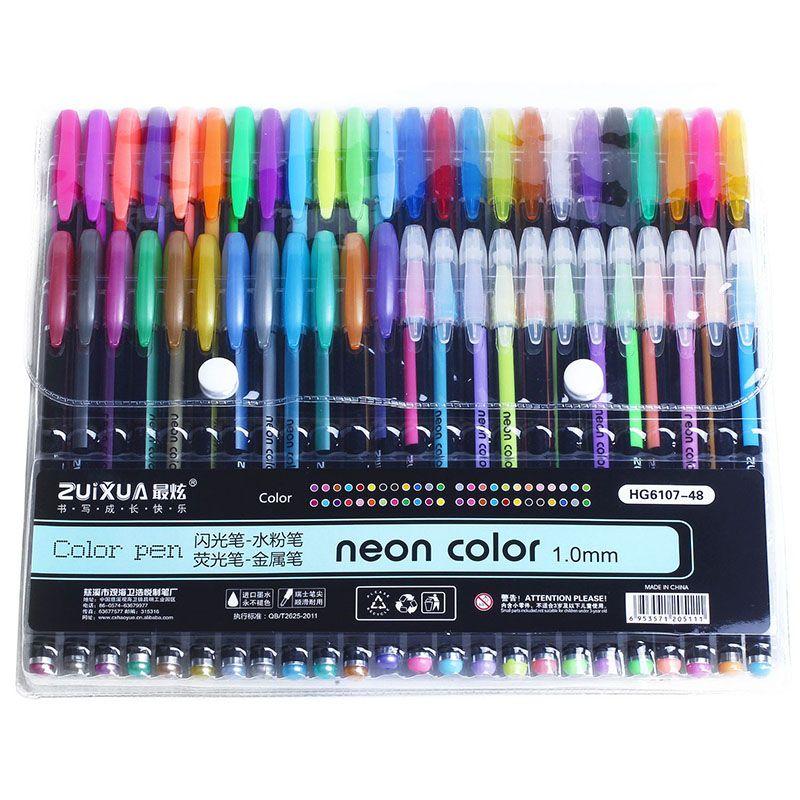 ZUIXUAN 48 ensemble de stylos Gel couleur stylos gel paillettes stylos métalliques bon cadeau pour coloriage, enfants, croquis, peinture, dessin