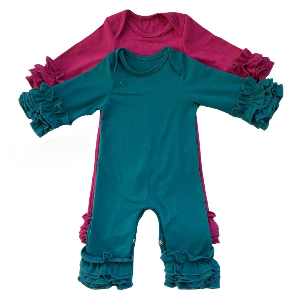 popular colors olive plum peacock mustard wholesale baby gowns clothes cotton long sleeve Triple icing ruffle baby rompers