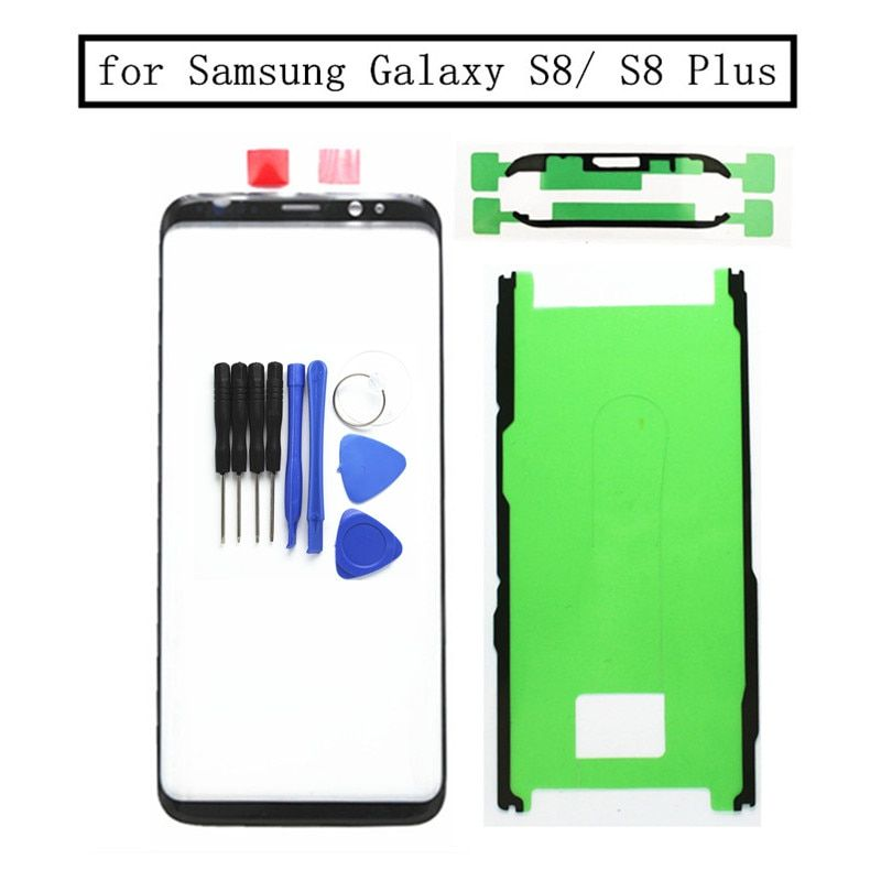 for Samsung Galaxy S8 G950 S8 Plus G955 Touch Screen Front Glass Touch Panel Cover Front Outer Glass Lens Repair Parts + 3M Glue