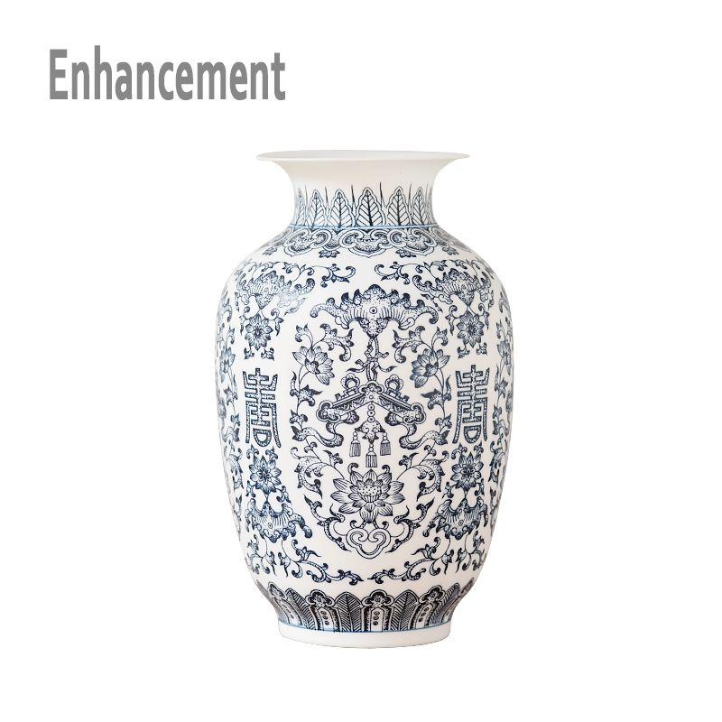 Vase en céramique bleu et blanc Design fleur en porcelaine motif chauve-souris Vase fait à la main décoration de la maison Jingdezhen Vases à fleurs